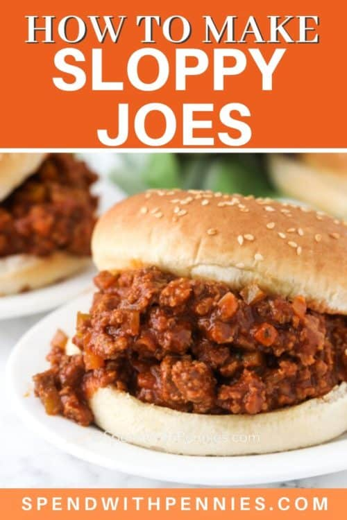 Sloppy joes on a white plate with writing