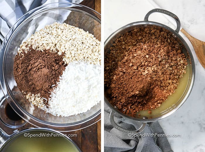 Left image - dry ingredients in a glass bowl. Right image - all ingredients being combined in a sauce pan.