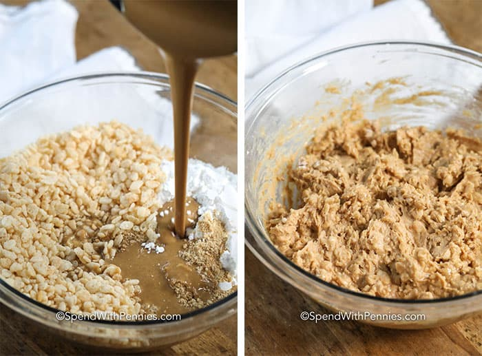 Left image - dry ingredients in a glass bowl with melted peanut butter mixture being poured in. Right image - peanut butter ball ingredients all mixed together.