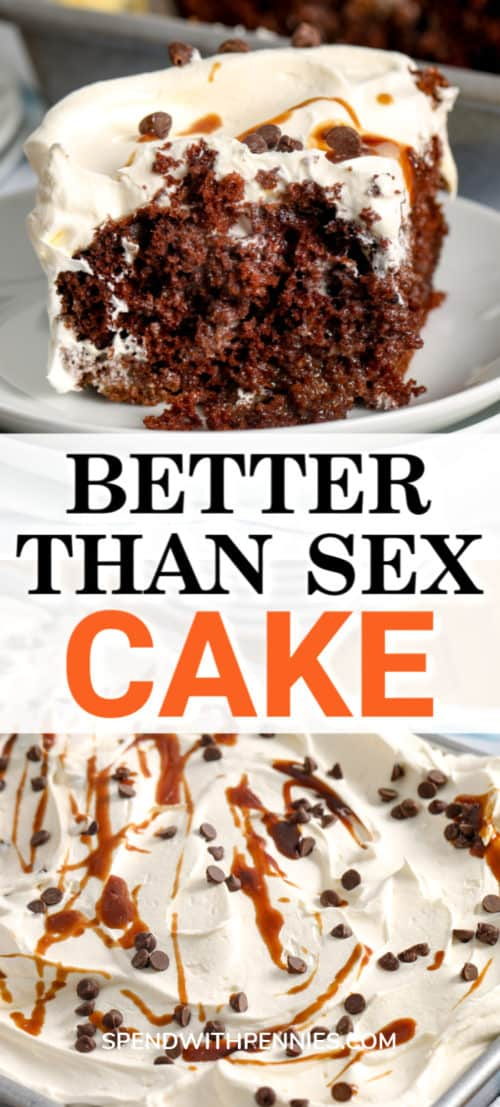 Top image - a serving of better than sex cake. Bottom image - a prepared better than sex cake topped with caramel drizzle and chocolate chips.