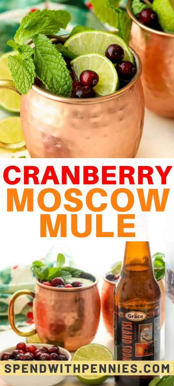 Top photo - Two Cranberry Moscow mules in copper mugs topped with mint sprigs, lime slices, and cranberries. Bottom photo - Ingredients assembled to make a Cranberry Moscow Mule.