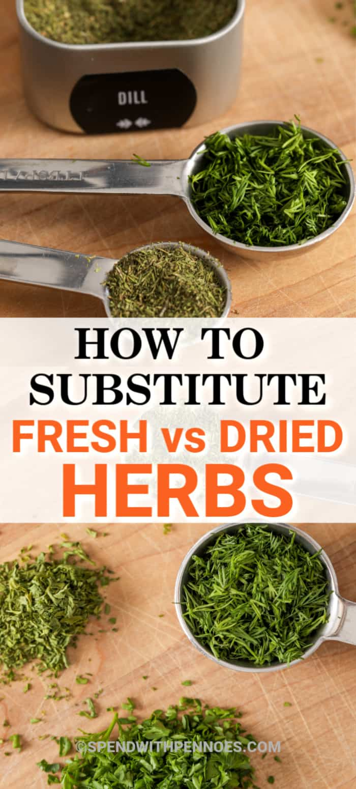 Herbs on a cutting board and in measuring spoons with writing