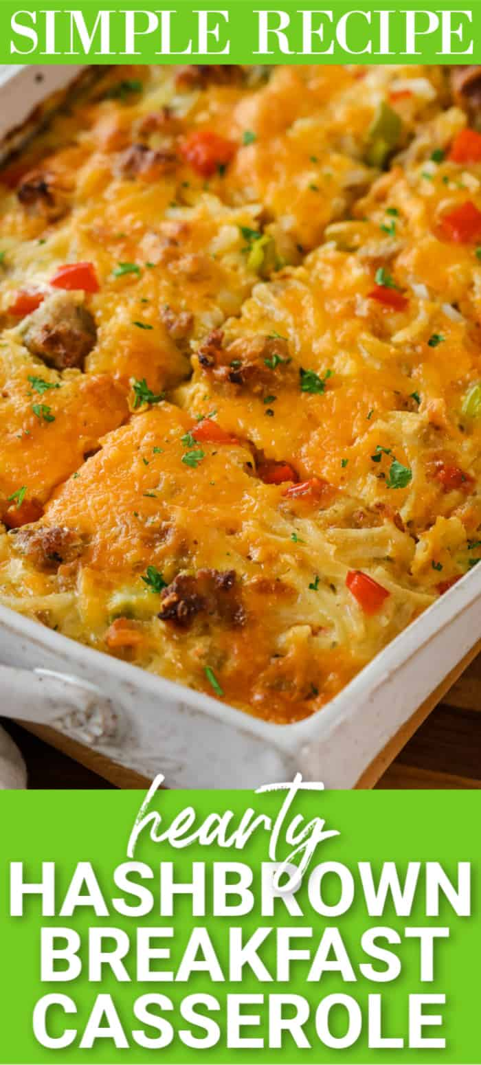 Hashbrown breakfast casserole in a casserole dish with a title