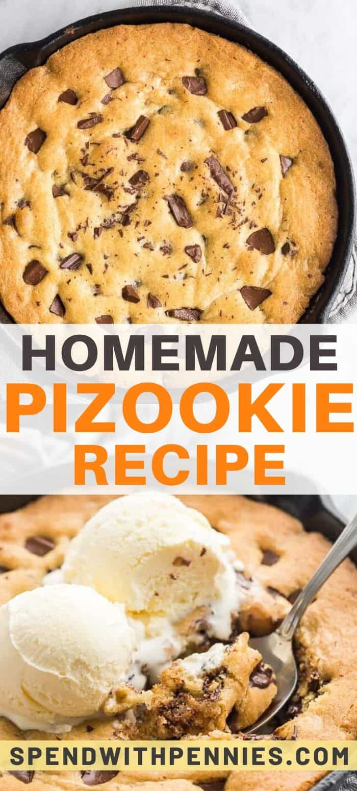 Top photo - Overhead image of a pizookie baked in a cast iron skillet. Bottom photo - Pizookie topped with ice cream being scooped out with a spoon.