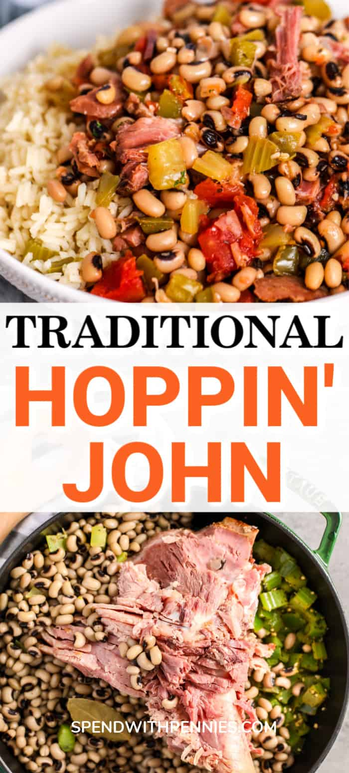 Hoppin John ingredients in a pot and Hoppin John in a bowl with rice and a title