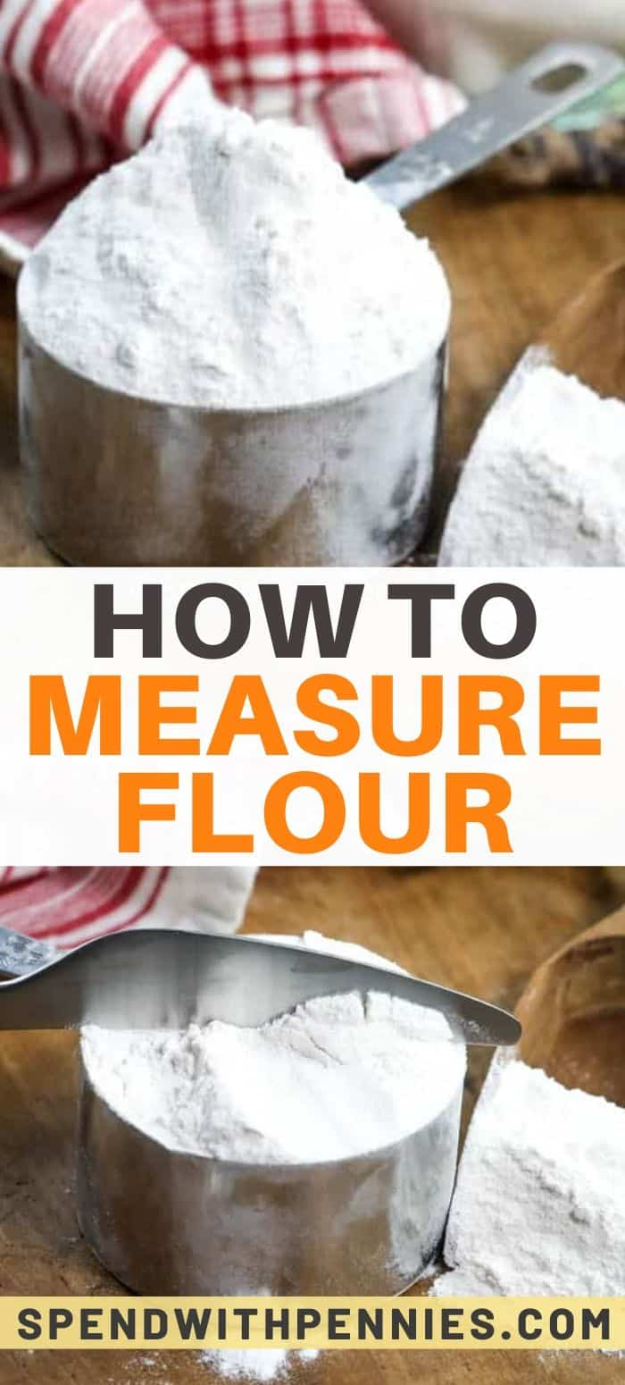 Flour in a measuring cup with text