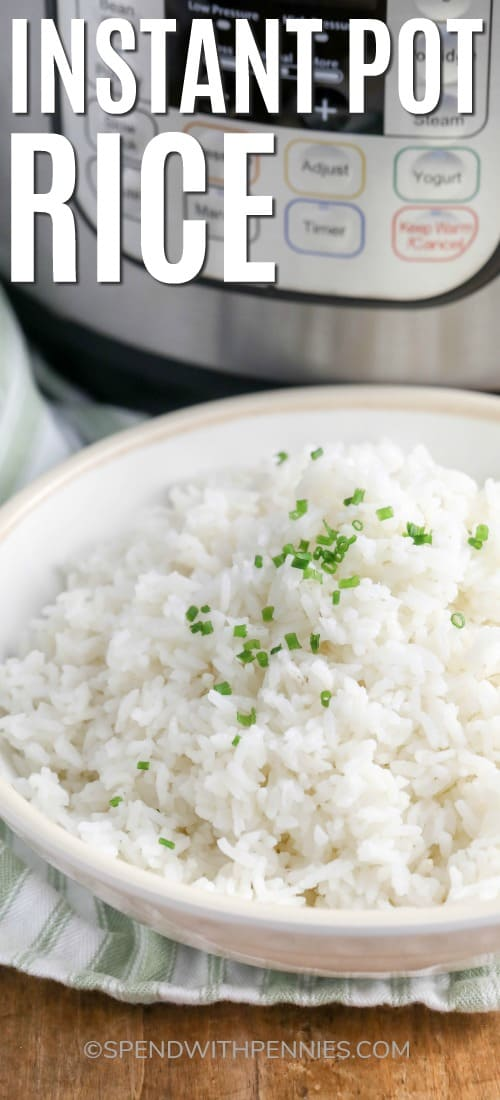Rice in a bowl garnished with chives with a title