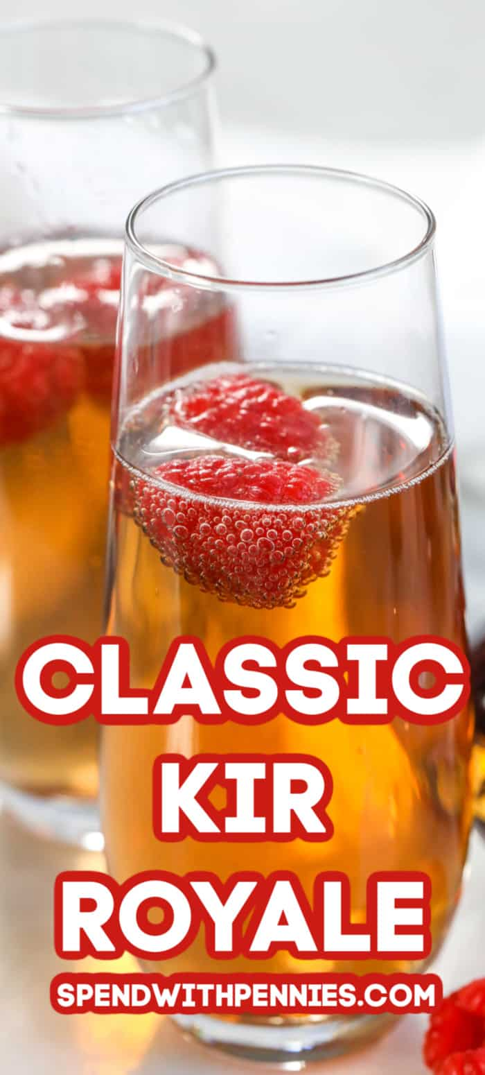 Kir Royale in a glass with a title