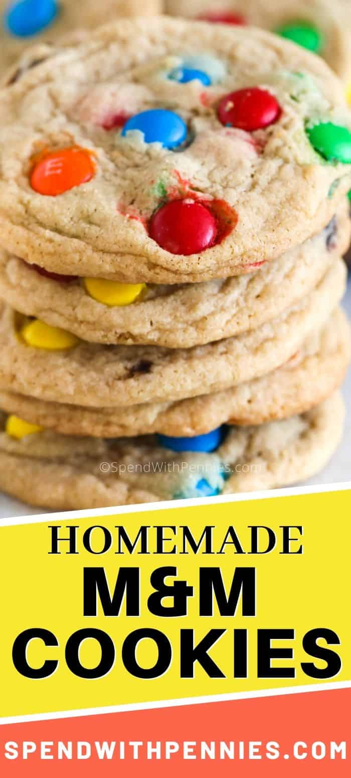 A stack of M&M Cookies.