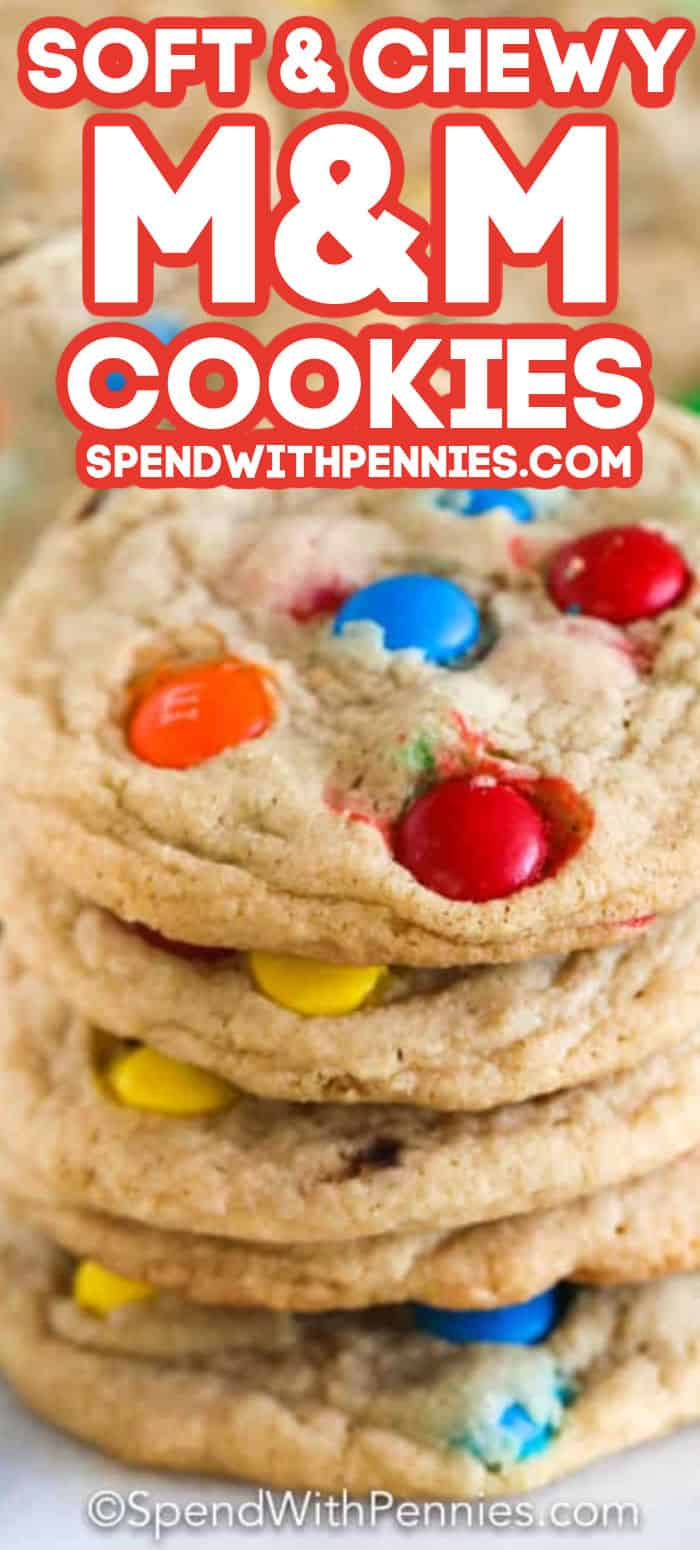 Top photo - a pile of M&M cookies. Bottom photo - cookie dough in a clear mixing bowl