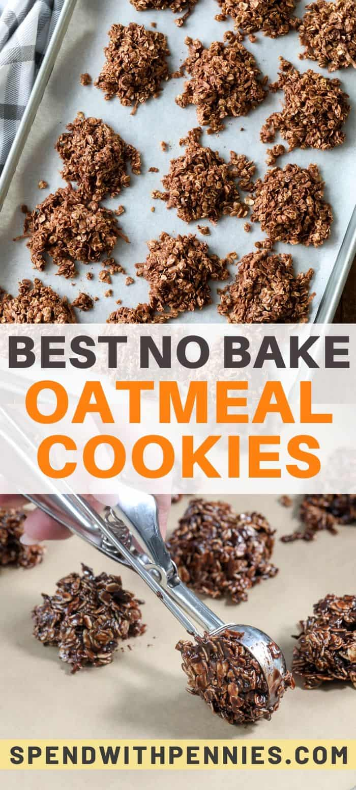Top photo - No bake oatmeal cookies on a baking tray lined with parchment paper. Bottom photo - No bake oatmeal cookies being scooped onto a baking tray lined with parchment paper.