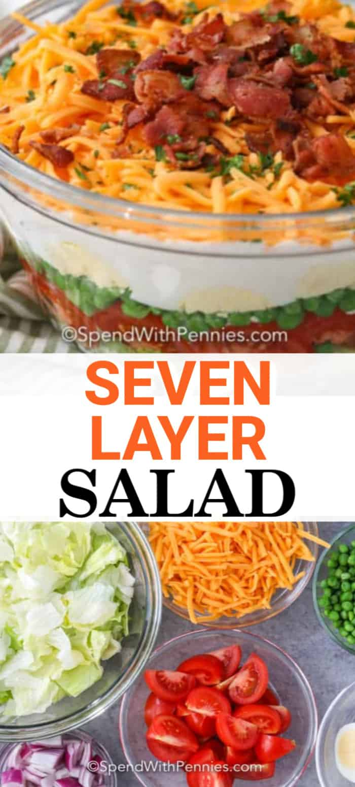 Ingredients for seven-layer salad in bowls and a seven-layer salad in a bowl with writing