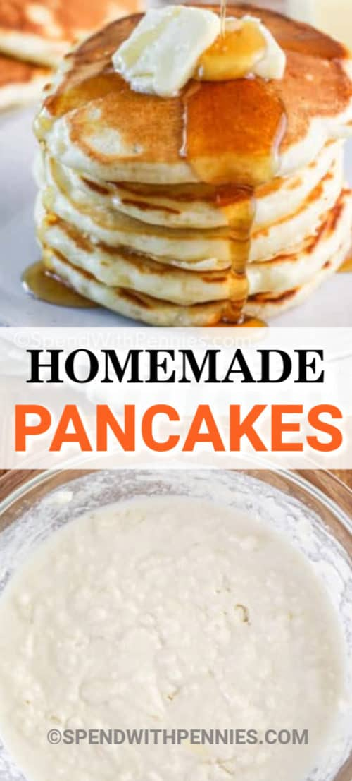 Top image - syrup being poured on top of a stack of pancakes. Bottom image - pancake batter in a glass bowl.