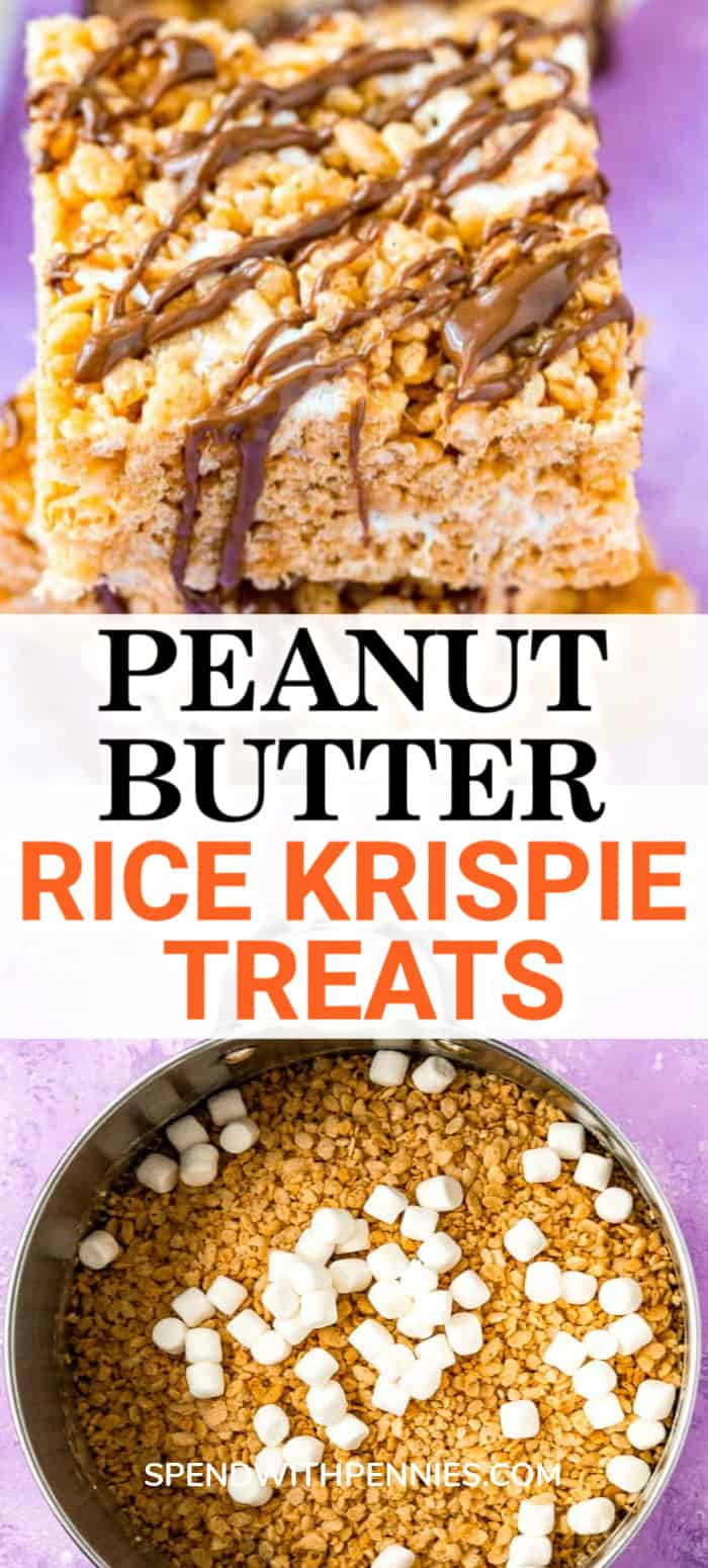 Top photo - Three rice krispies treats drizzled with chocolate stacked on top of each other. Bottom photo - Large saucepan with ingredients to make peanut butter rice krispies treats.