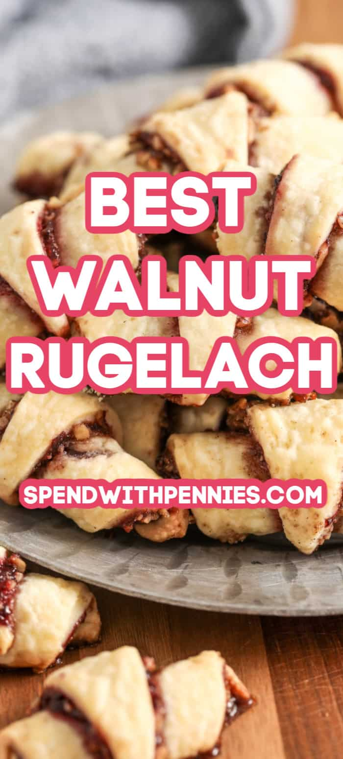 A serving plate stacked full of rugelach.