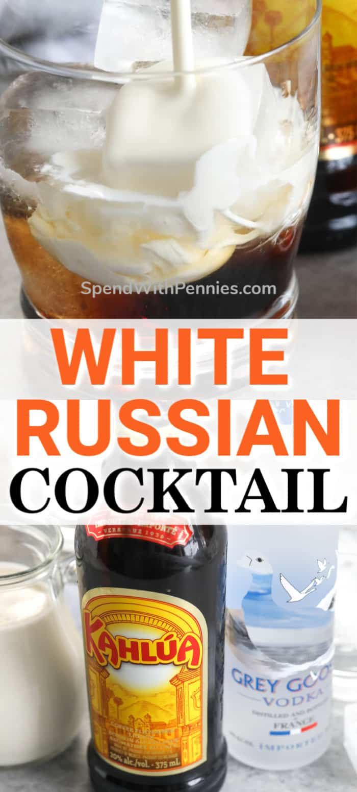 White Russian ingredients and white russian in a glass with milk being poured in with writing