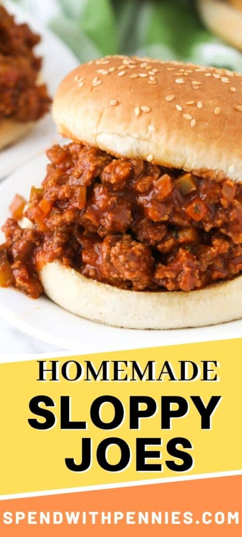 Sloppy joes with a bun on a white plate and a title