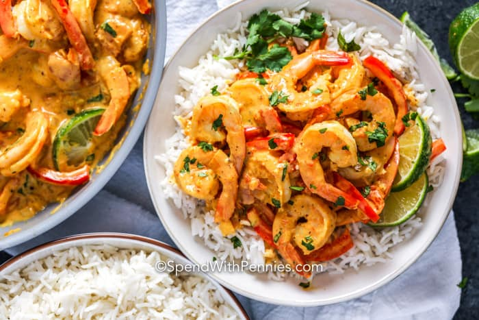 Rice and Shrimp Curry on a plate