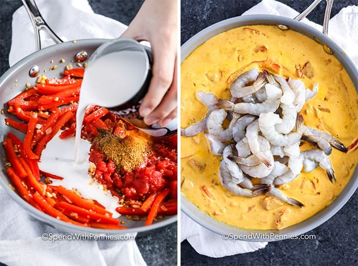 Left image - Coconut milk being poured into the shrimp curry ingredients in a frying pan. Right image - shrimp being added to the curry mixture.