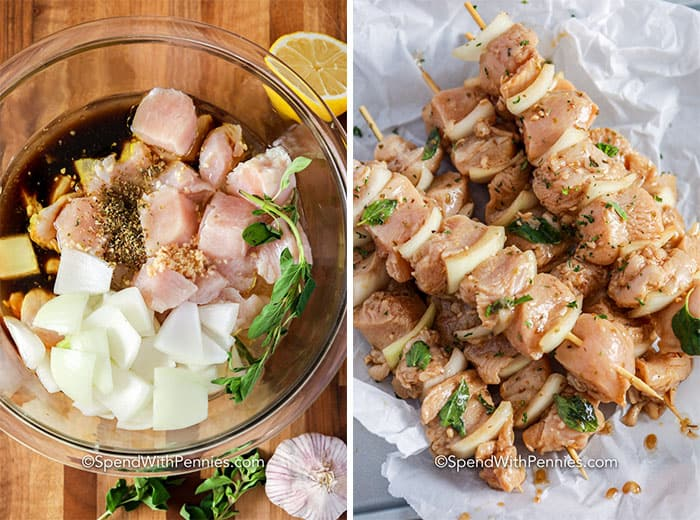 Left image - all ingredients in a glass bowl. Right image - Marinated chicken and onions threaded onto a skewer before grilling.