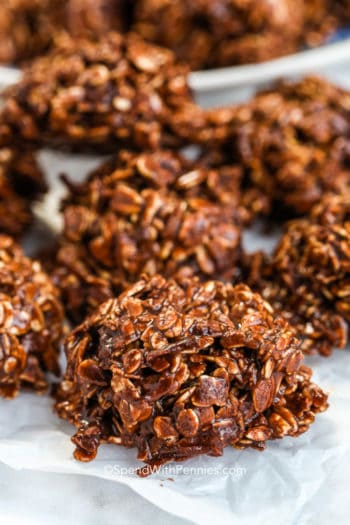 No bake oatmeal cookies on parchment paper