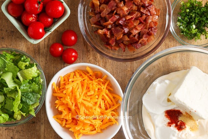 BLT Dip ingredients.