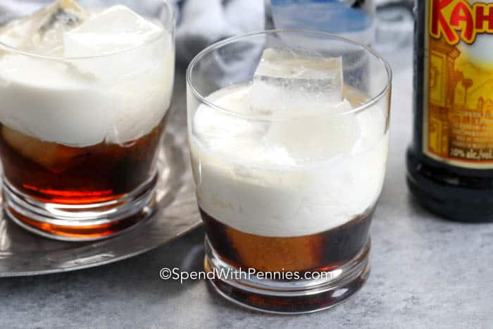 White Russians in glasses filled with ice