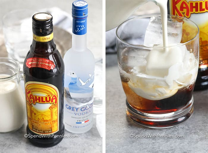 Ingredients for White Russian and white russian in a glass with ice and milk being poured in