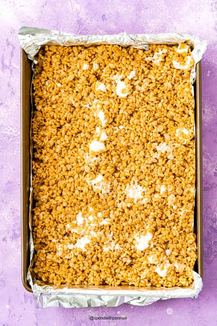 Rice Krispies Treats in a large pan.