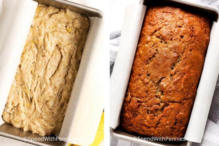 Left image - banana bread dough in a bread pan before baking. Right image - Banana bread baked in a bread pan.