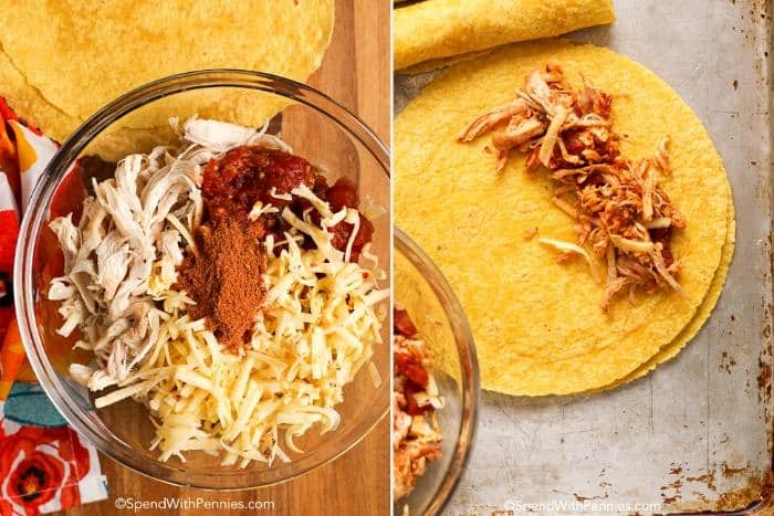Two images showing the chicken taquito filling being prepared and then placed inside corn tortillas.
