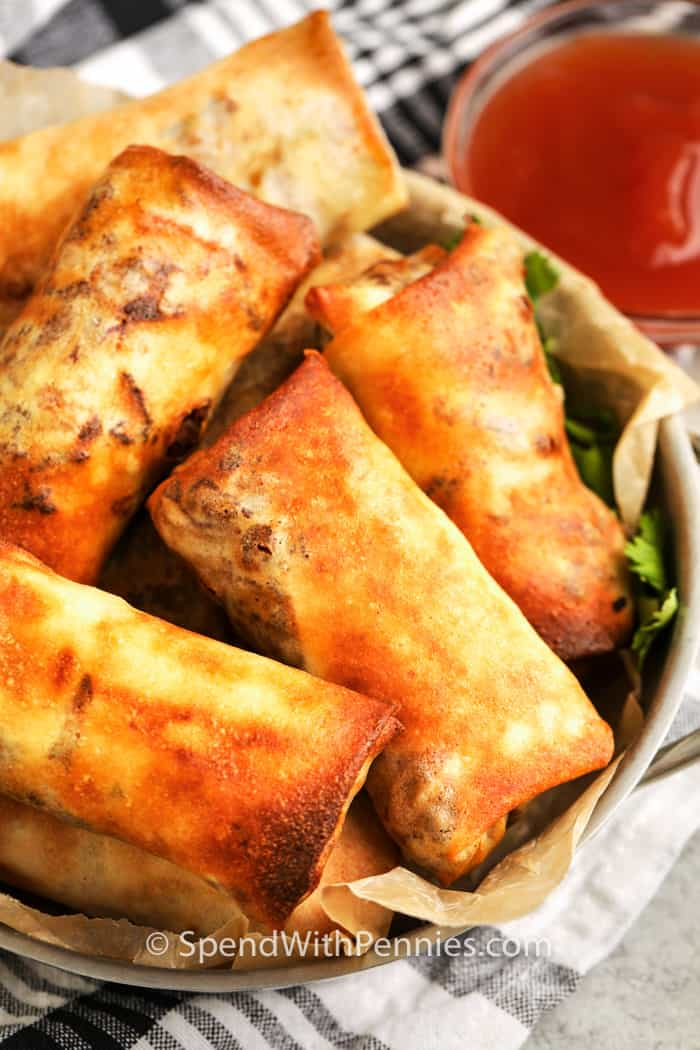 Air Fryer Egg Roll with sweet and sour sauce