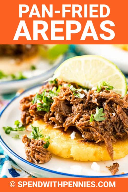 Arepas on a plate with a title