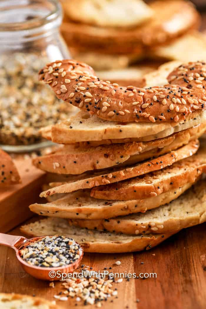 Bagel chips in a pile