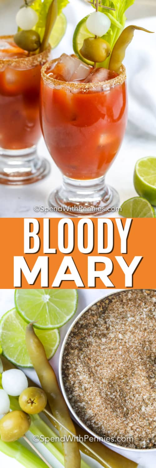 Ingredients for Bloody Mary and in a glass with a title