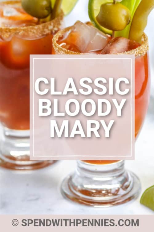 Bloody Mary in a glass with a title