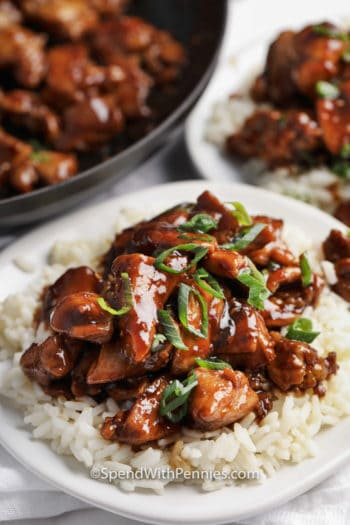 Bourbon Chicken on a bed of rice