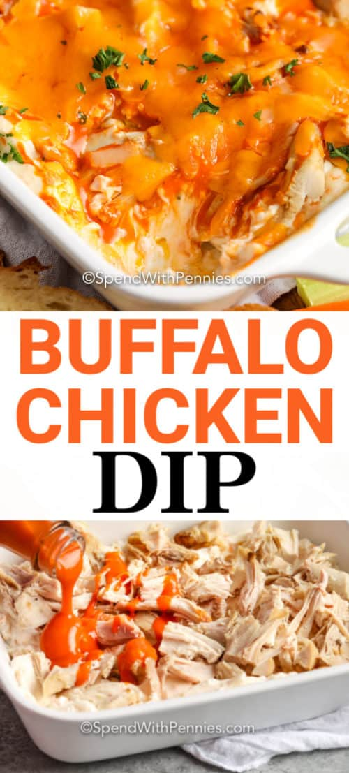 Top image - baked buffalo chicken dip. Bottom image - buffalo dip being poured over shredded chicken.