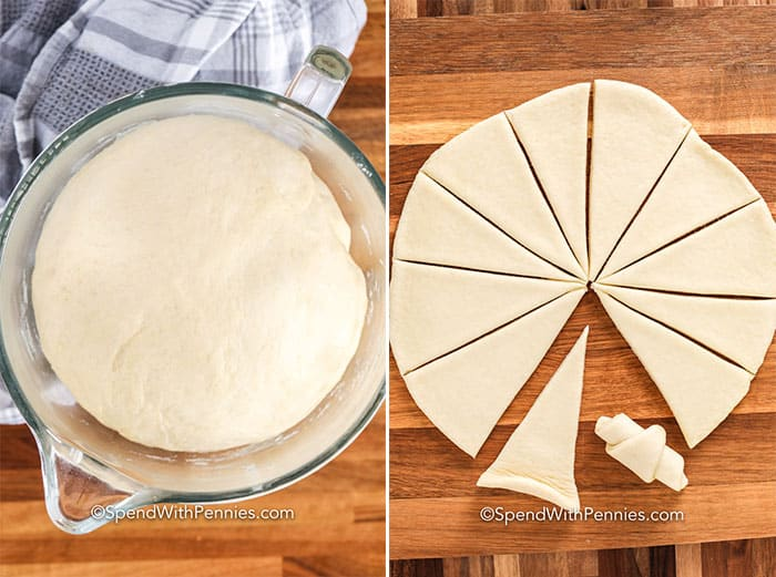 Left image - dough rising in a glass bowl. Right image - dough rolled into a circle and cut into wedges.