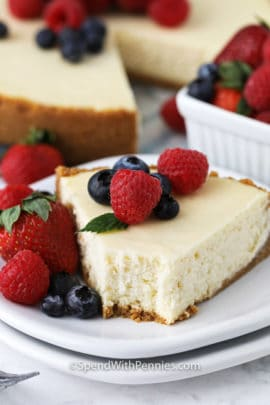 Cheesecake with raspberries and blueberries on top