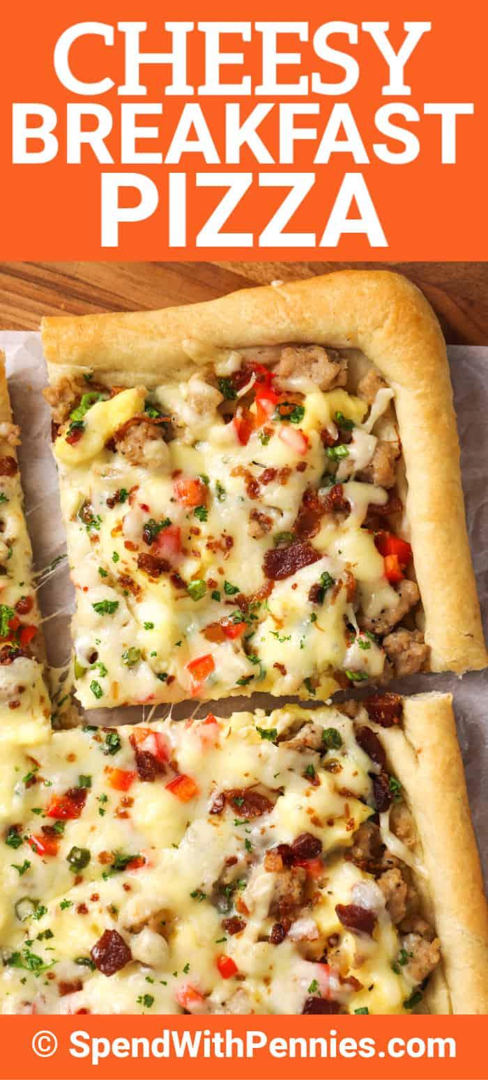 A slice of breakfast pizza