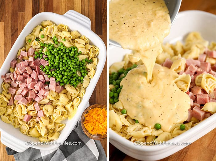 Left image - baked tortellini ingredients in a casserole dish. Right image - sauce being poured over baked tortellini ingredients in a casserole dish.