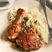 Chicken Adobo with rice and green onion
