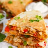 Chicken Quesadilla with green onion
