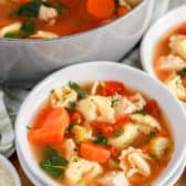 Chicken Tortellini Soup in a white bowl with pot in the background
