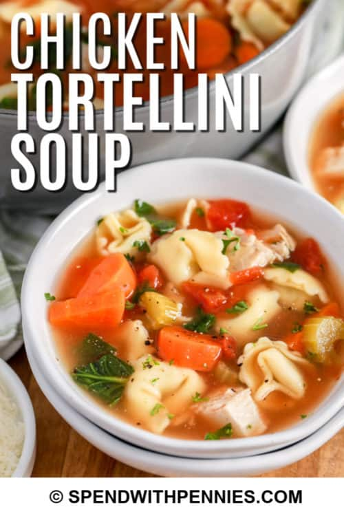 White bowl of Chicken Tortellini Soup