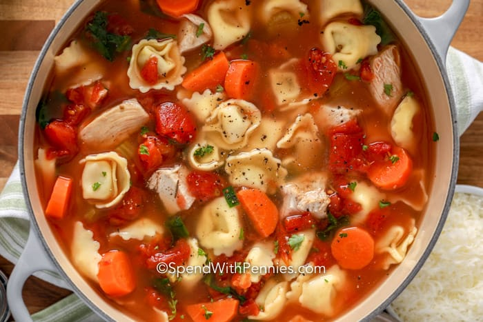 Pot of Chicken Tortellini Soup