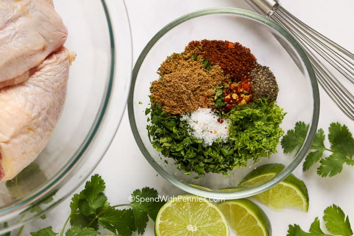 Ingredients for Cilantro Lime Chicken in a glass bowl.