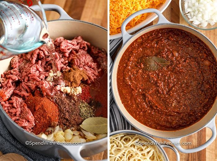 Two ingredients showing the ingredients before and after being cooked.