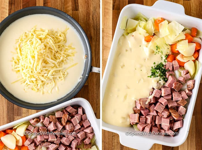 Two images showing how to make the cheese sauce and then pour on the casserole/
